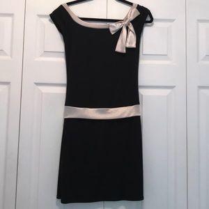 Ruby Rox Black with Cream Satin Trim Formal Dress
